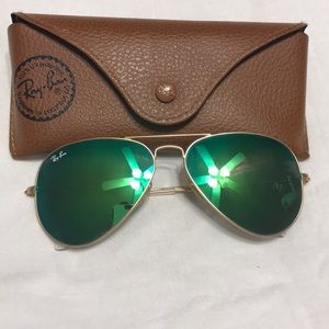 Ray Ban - Green and Gold Mirrored Aviators